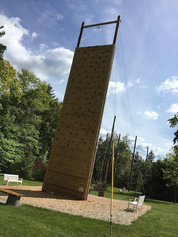 Team-building climbing wall at Canyon Ranch Lennox